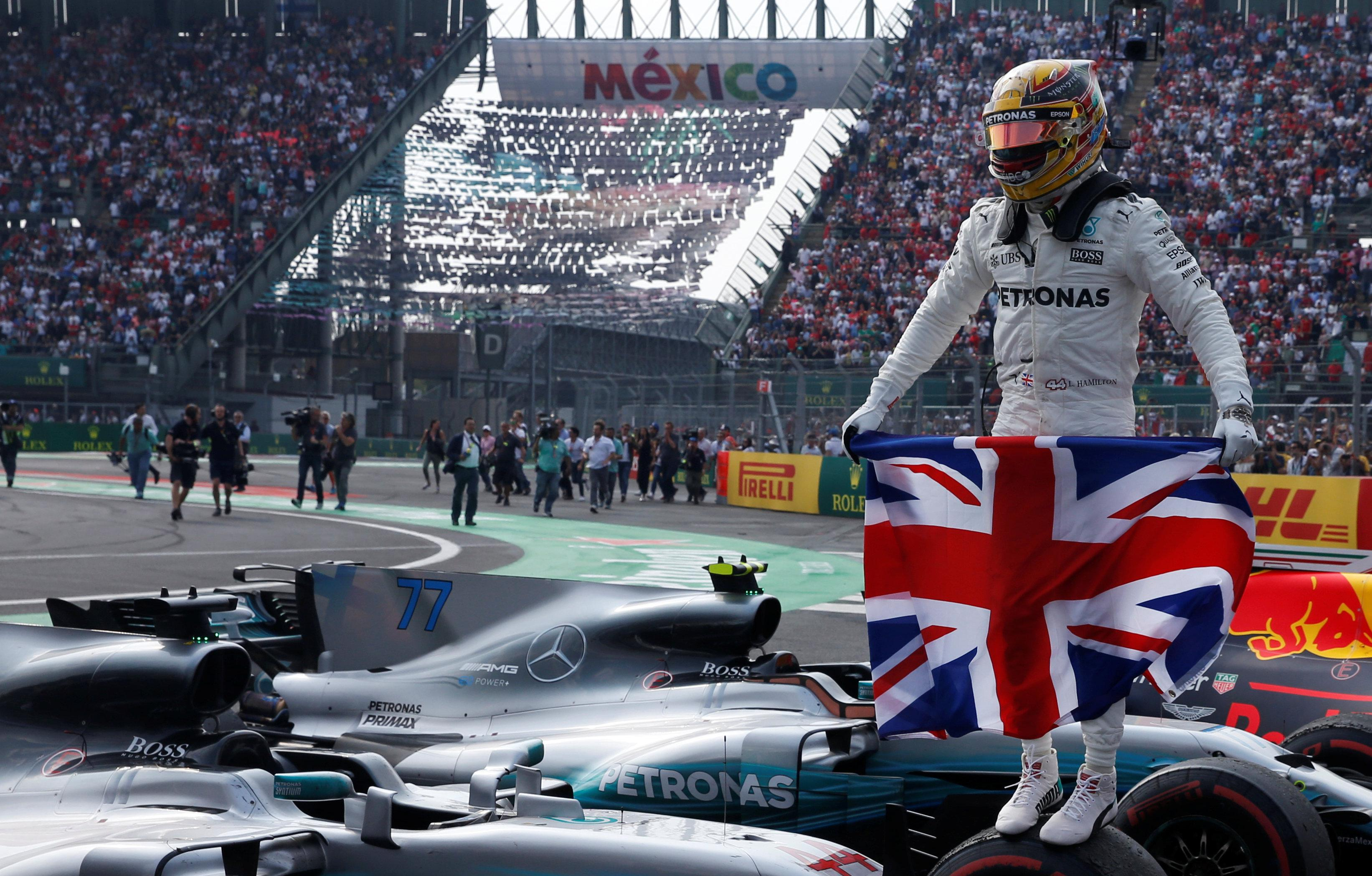 The Brit superstar was crowned king of the F1 world in Mexico City