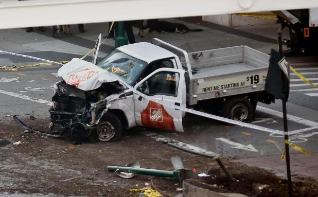 The mangled rented Home Depot truck ploughed into cyclists on a bike path in New York City on Halloween
