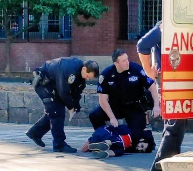 This is the moment police pinned the suspect, named as Sayfullo Saipov, down after he drove the equivalent of 14 blocks, mowing down people using a cycle lane