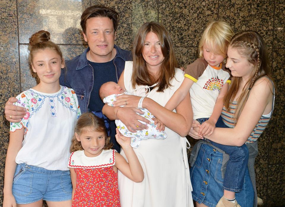 Jamie and Jools Oliver with their five children