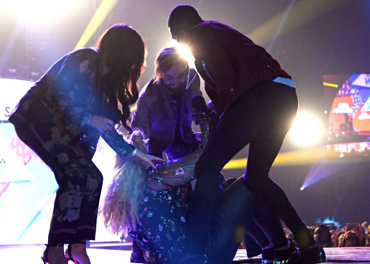 Gemma Collins fell through a trap door in the floor as she presented the Best TV Show award at BBC Radio 1's Teen Awards Show