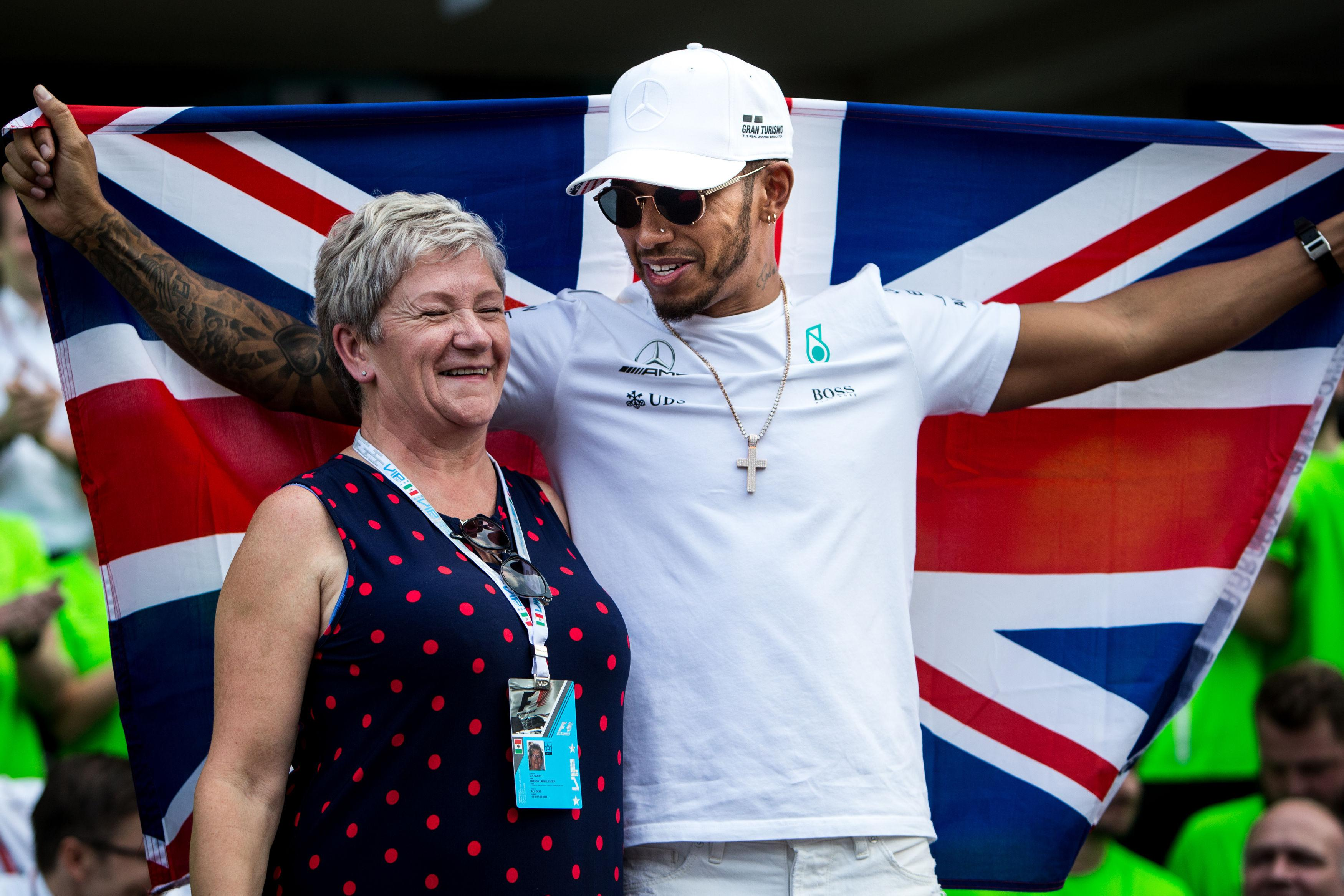 Lewis Hamilton celebrated his world title with his mum in Mexico