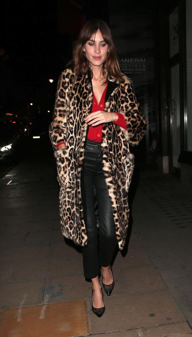 Alexa warded off the winter chill with a statement fur leopard-print coat
