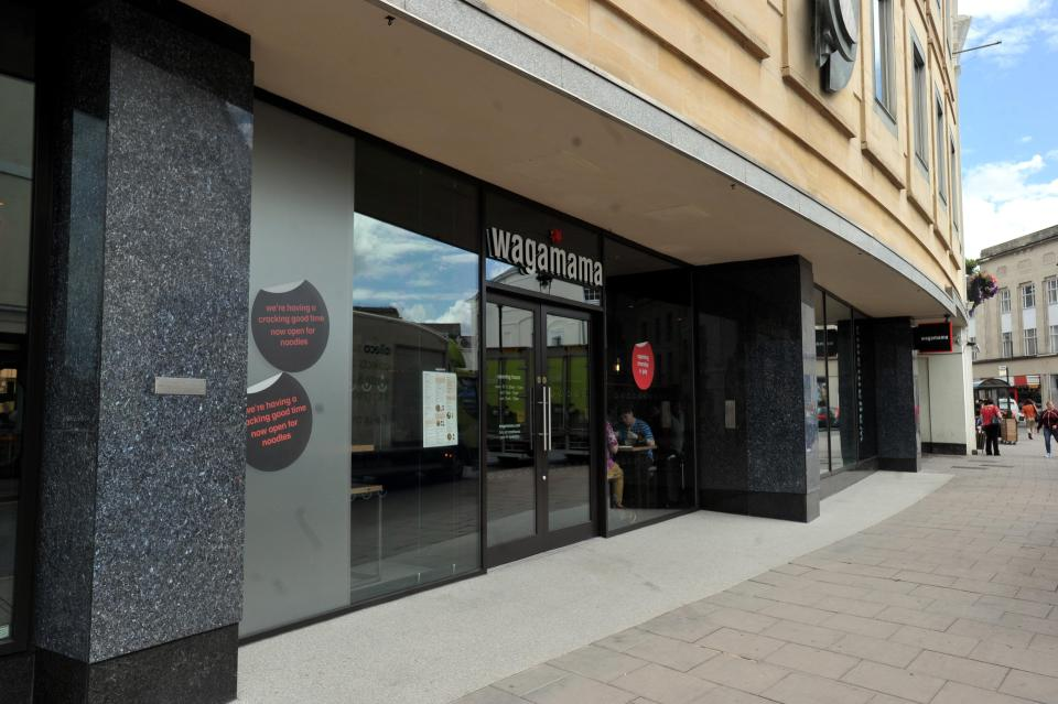 She said staff at the Cheltenham branch of Wagamama saw the man's feet on the seat but said nothing