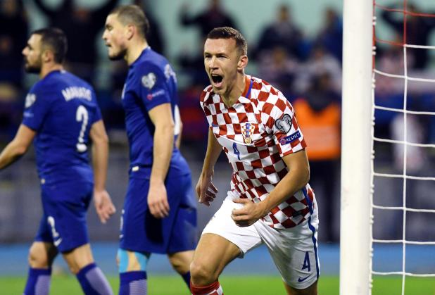 The Manchester United target celebrates after his vital goal restored Croatia's two-goal lead