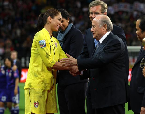 The former Fifa president talks with Hope Solo after the Women's World Cup final