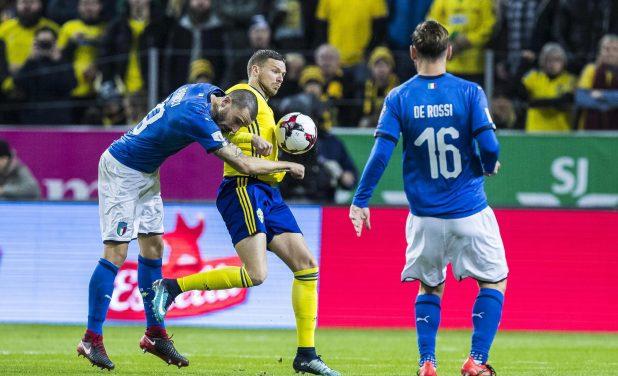 Leonardo Bonucci and Ola Toivonen clash after just 30 seconds