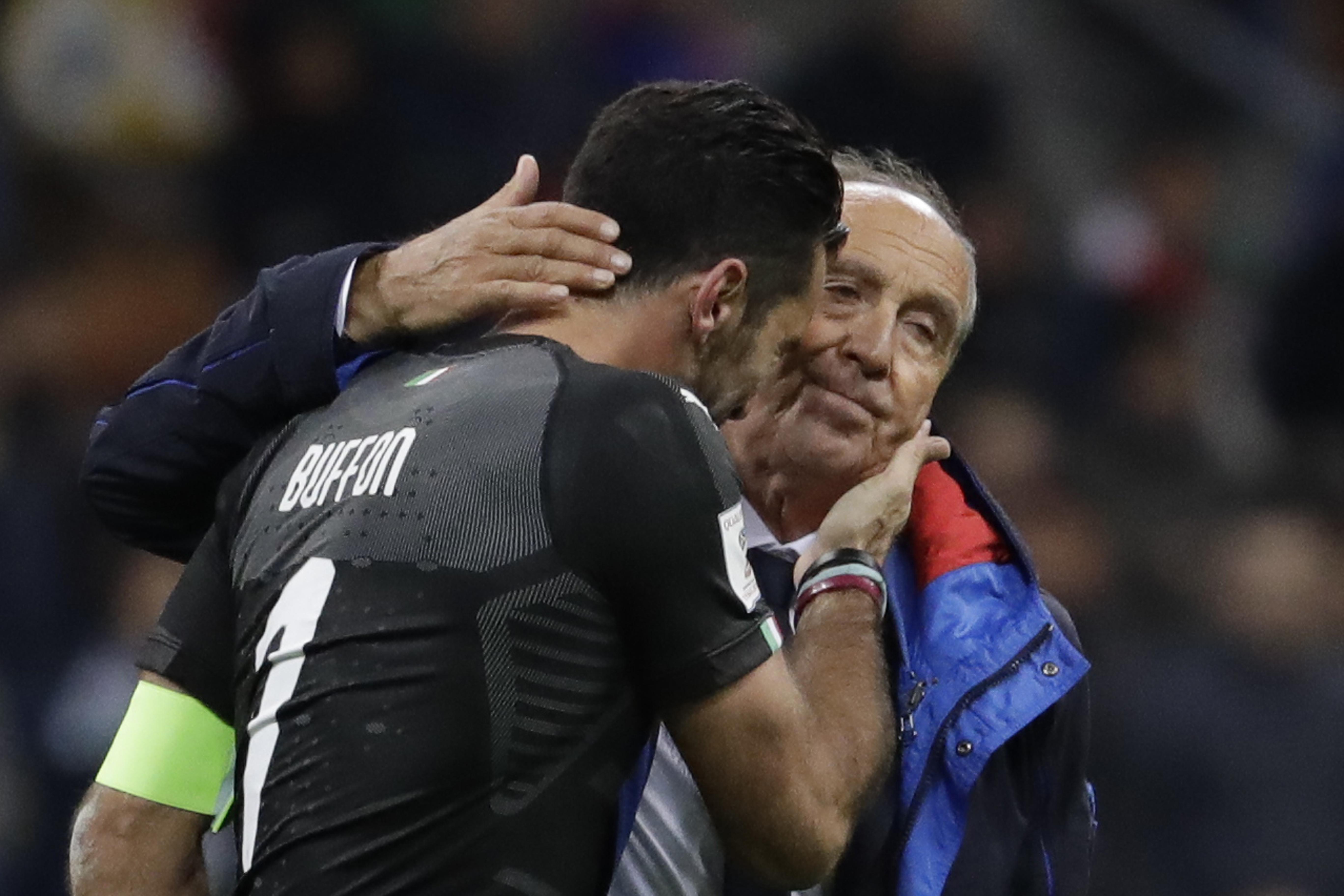Gianluigi Buffon is consoled by current manager Gian Piero Ventura