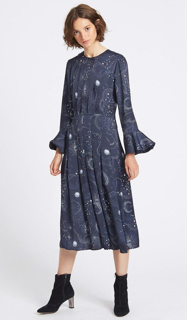 Marks and Spencer's sell-out star-print navy midi dress is back in stock