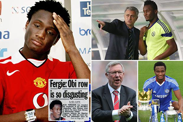 Image result for pic of mikel in both chelsea and man u colors