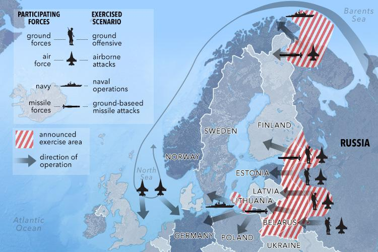 This graphic shows the areas of the drills and what military forces were used