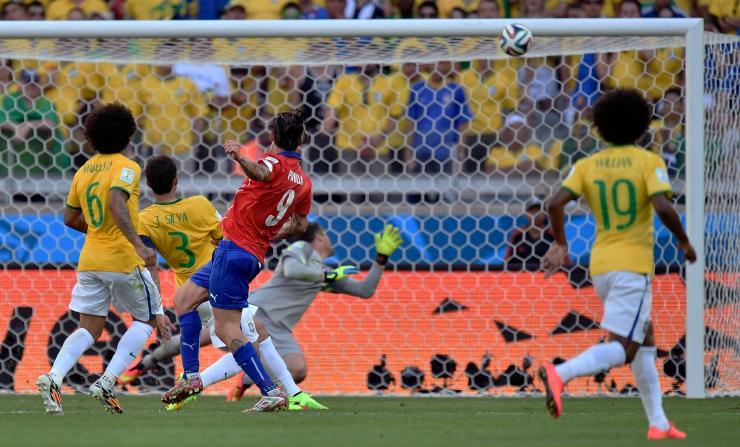 Agonising moment Mauricio Pinilla hit the bar at the 2014 World Cup