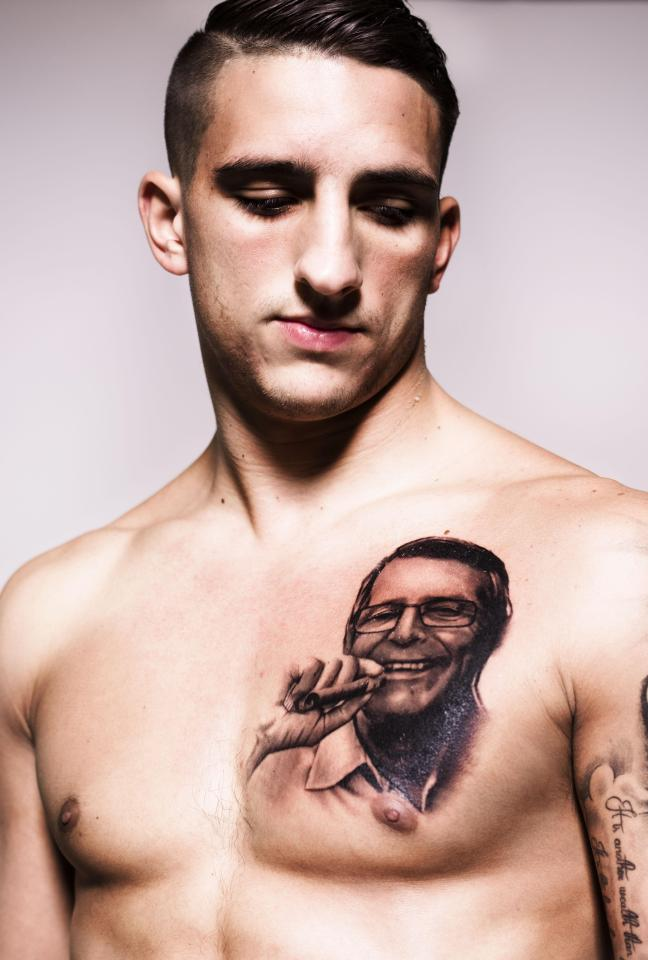 Anthony Knockaert's tattoo of Patrick shows him smoking a cigar