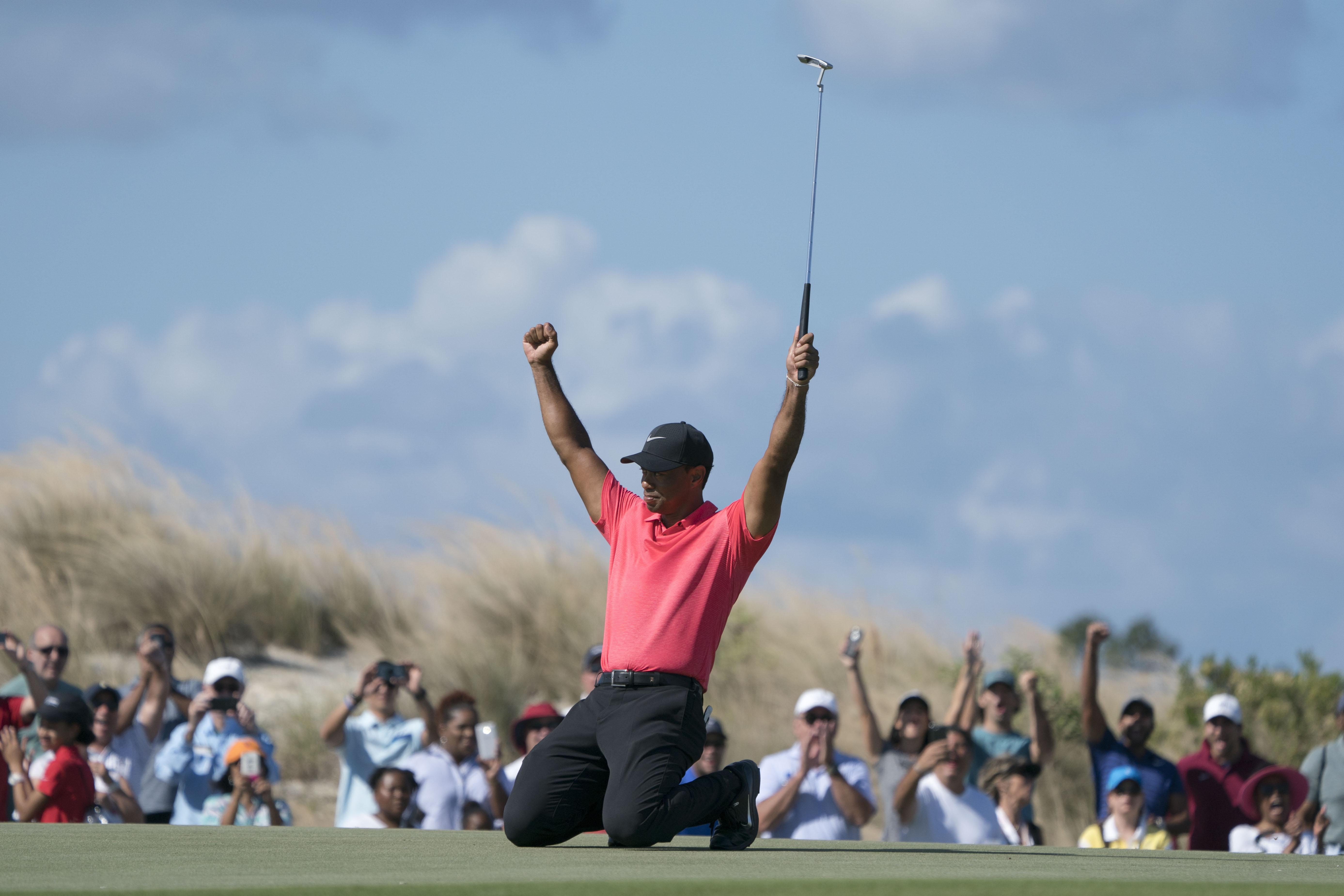 Tiger Woods celebrates like a champ, but is he back for good?