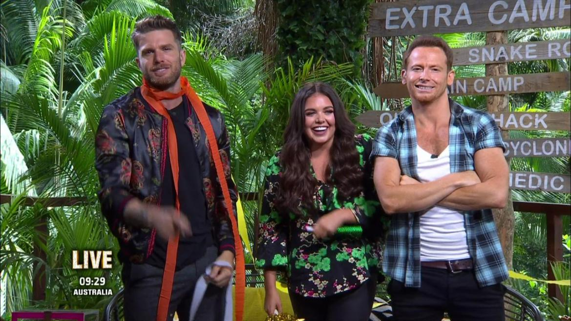 Extra Camp hosts Joel Dommett, Scarlett Moffatt and Joe Swash