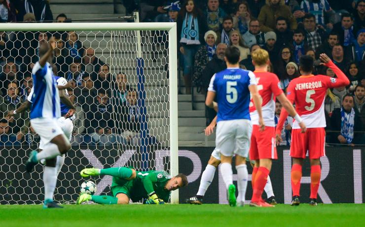 Vincent Aboubakar scores the opening goal against Monaco