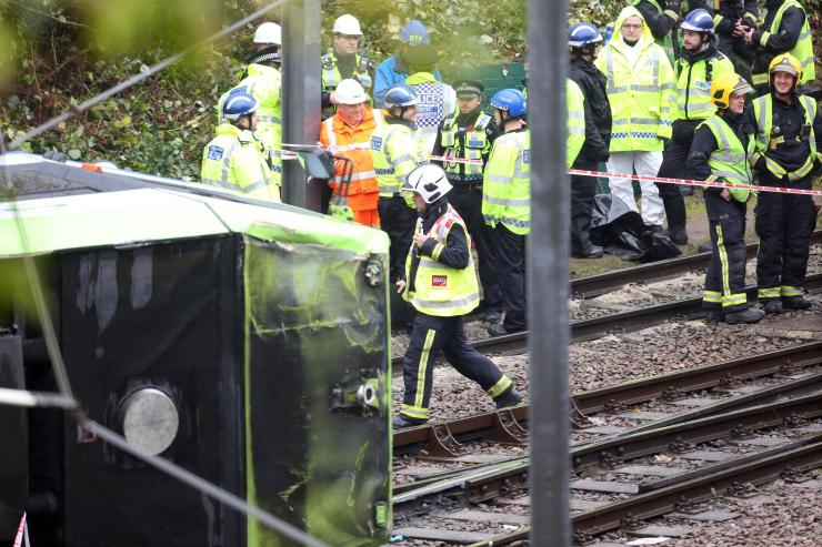 The tram came off the rails after rounding a corner at almost four times the speed limit