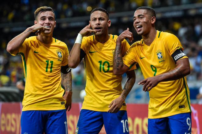 Neymar in action for Brazil