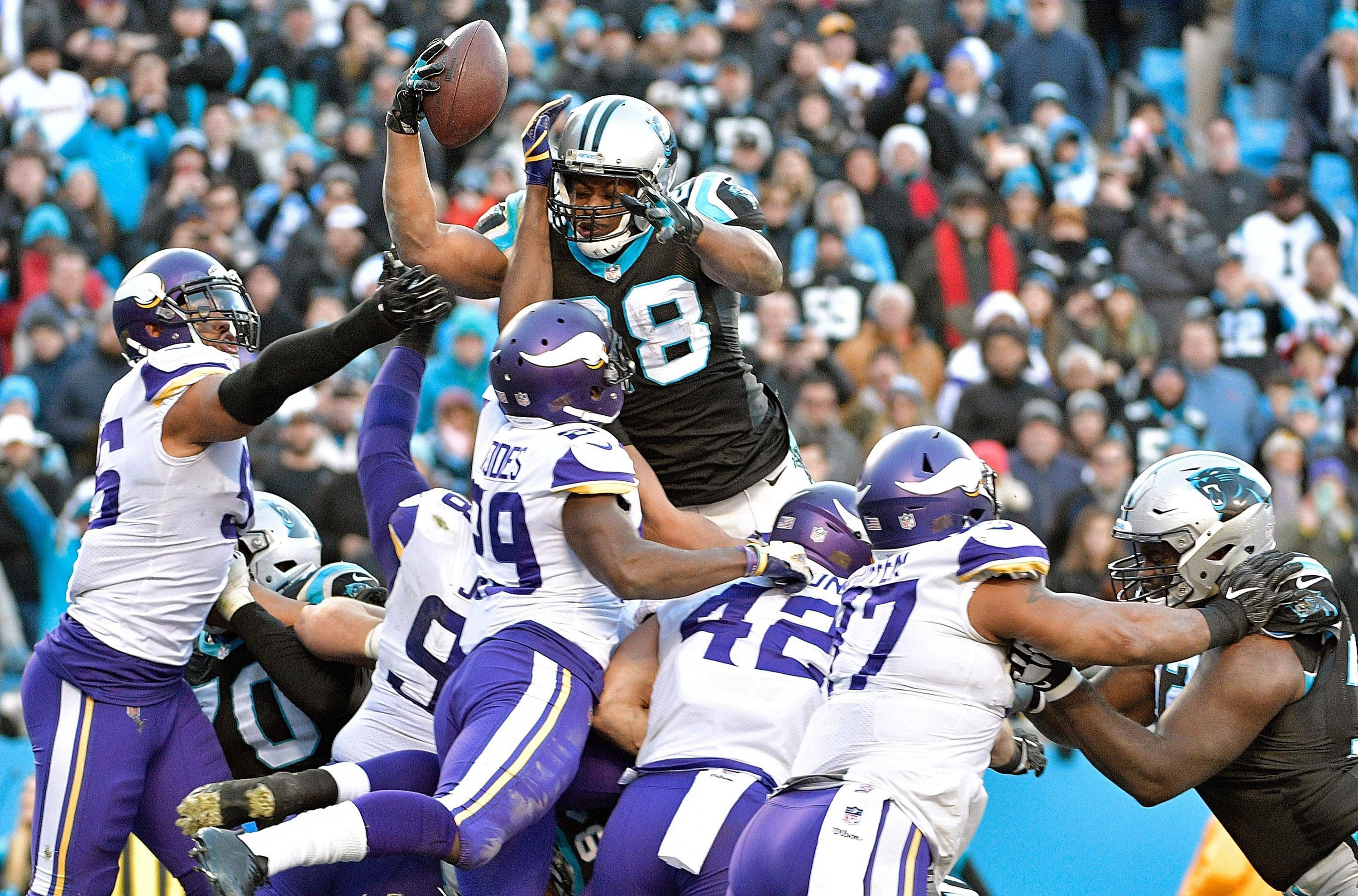 Jonathan Stewart dives in for a touchdown - worth six points