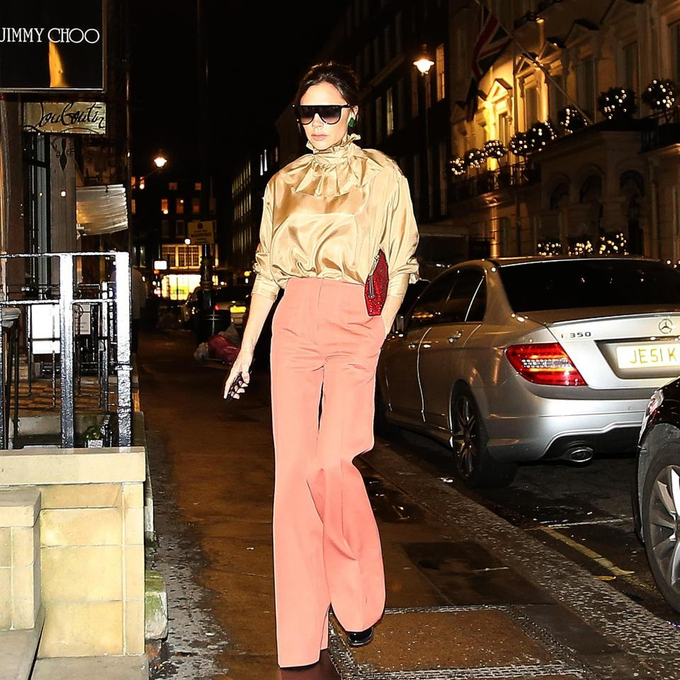 Posh Spice went back to the seventies in bell-bottom flares
