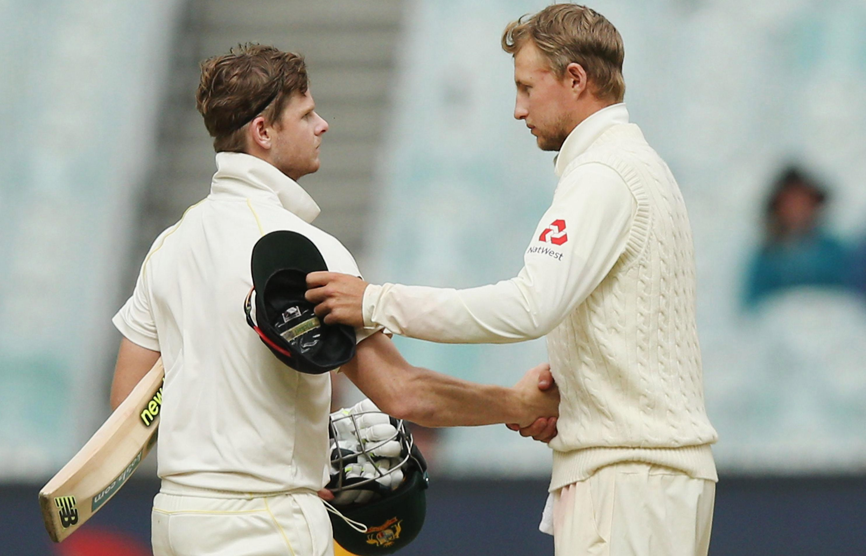 Skippers Steve Smith and Joe Root shake hands after Fourth Test draw
