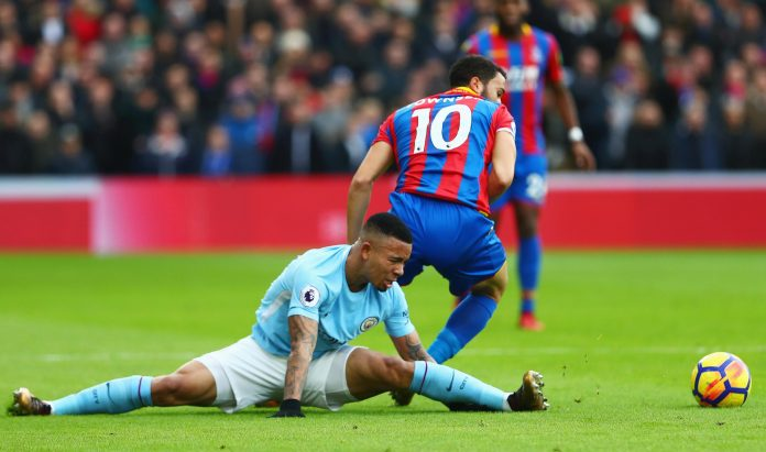 Gabriel Jesus lands awkwardly during Manchester City's clash against Crystal Palace