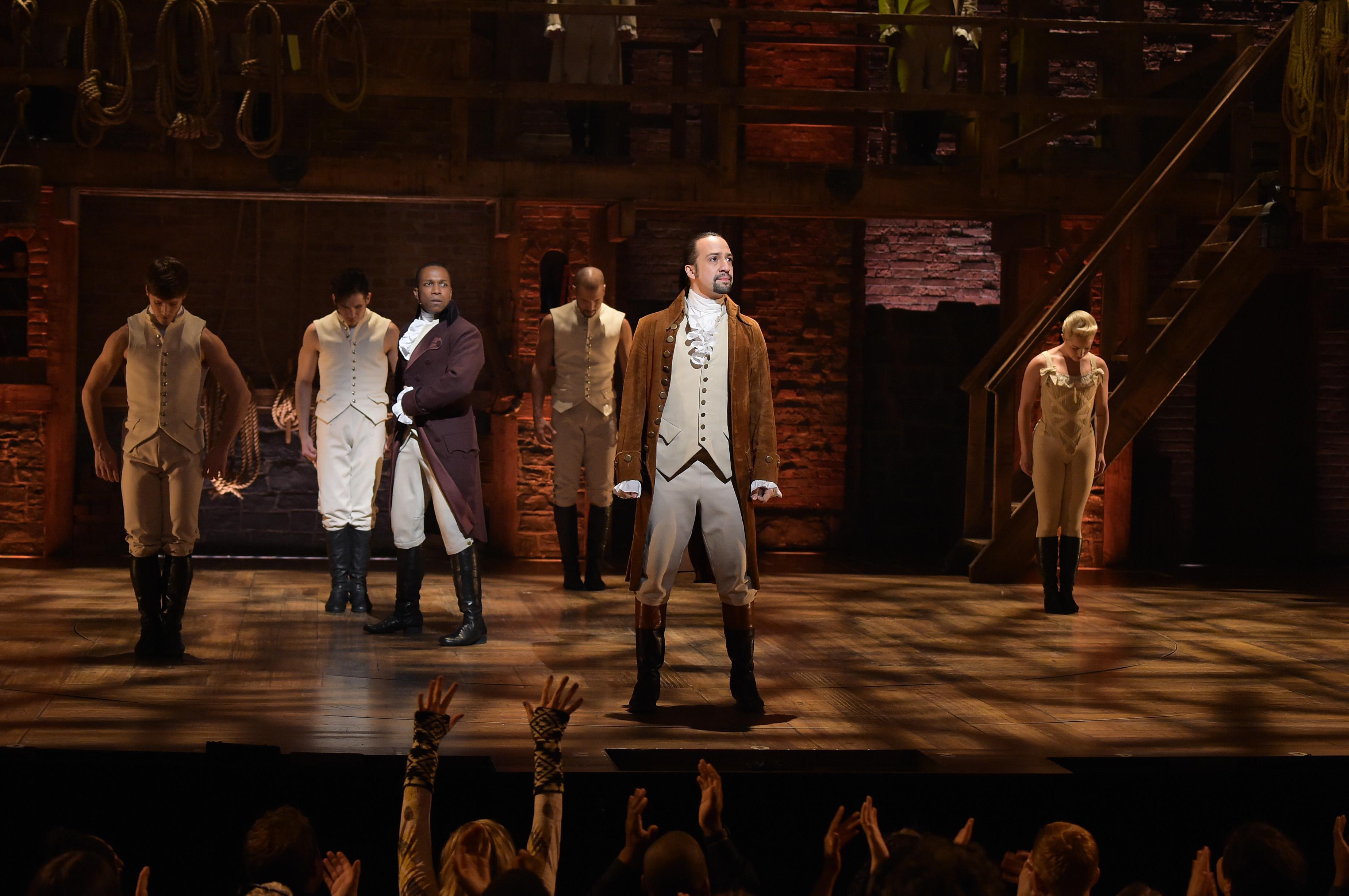 Leslie Odom Jr performing in award-winning musical Hamilton