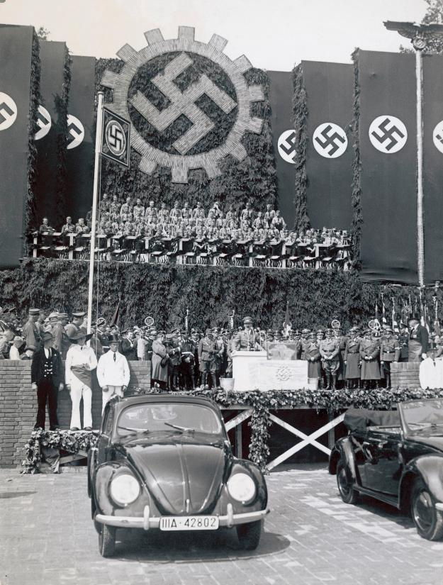 Foundation stone for the Volkswagen factory on Adolf Hitler's 50th birthday