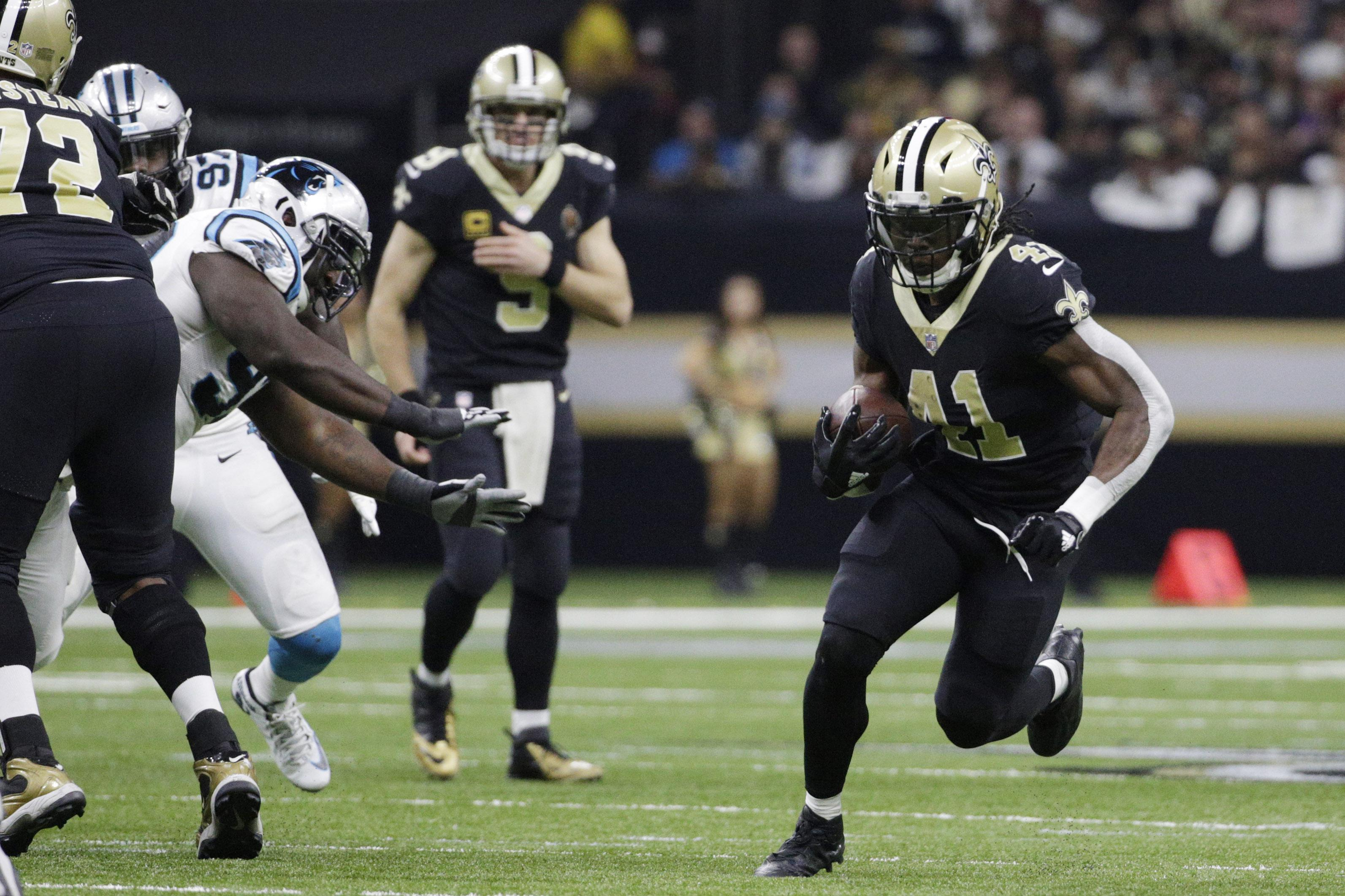 Alvin Kamara in action for the New Orleans Saints in their win over the Carolina Panthers