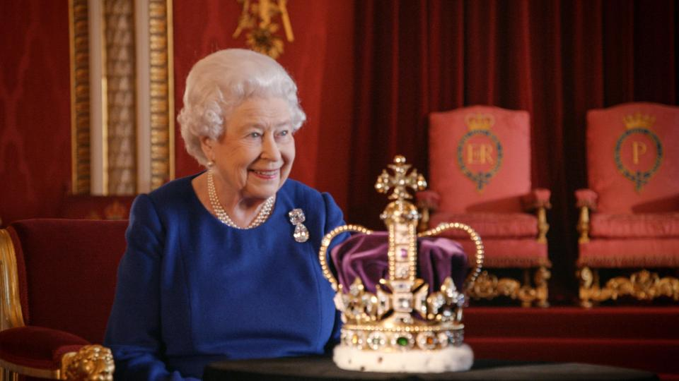 The Queen poses here with the St Edward's Crown, which she wore during her coronation in 1953