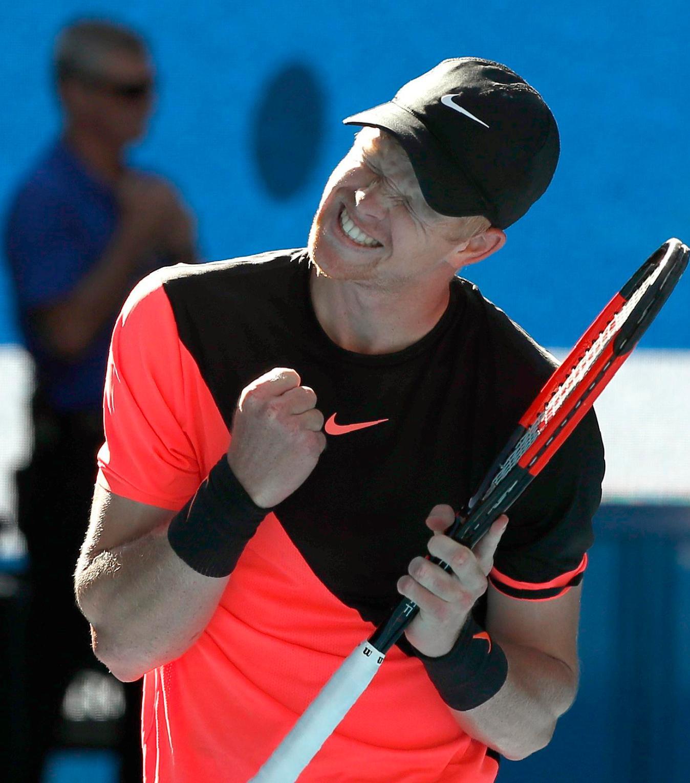 Kyle Edmund celebrates beating Grigor Dimitrov to reach the Australian Open semi-finals
