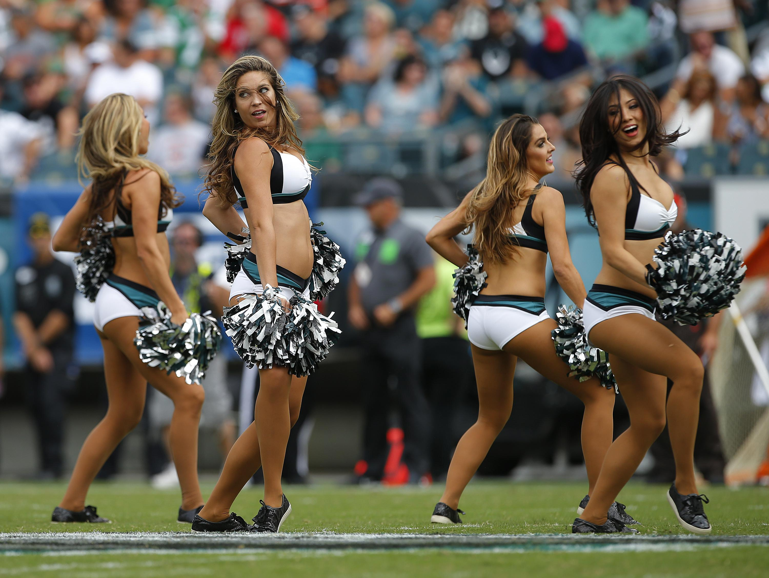 Philadelphia Eagles cheerleaders in action at Lincoln Financial Field