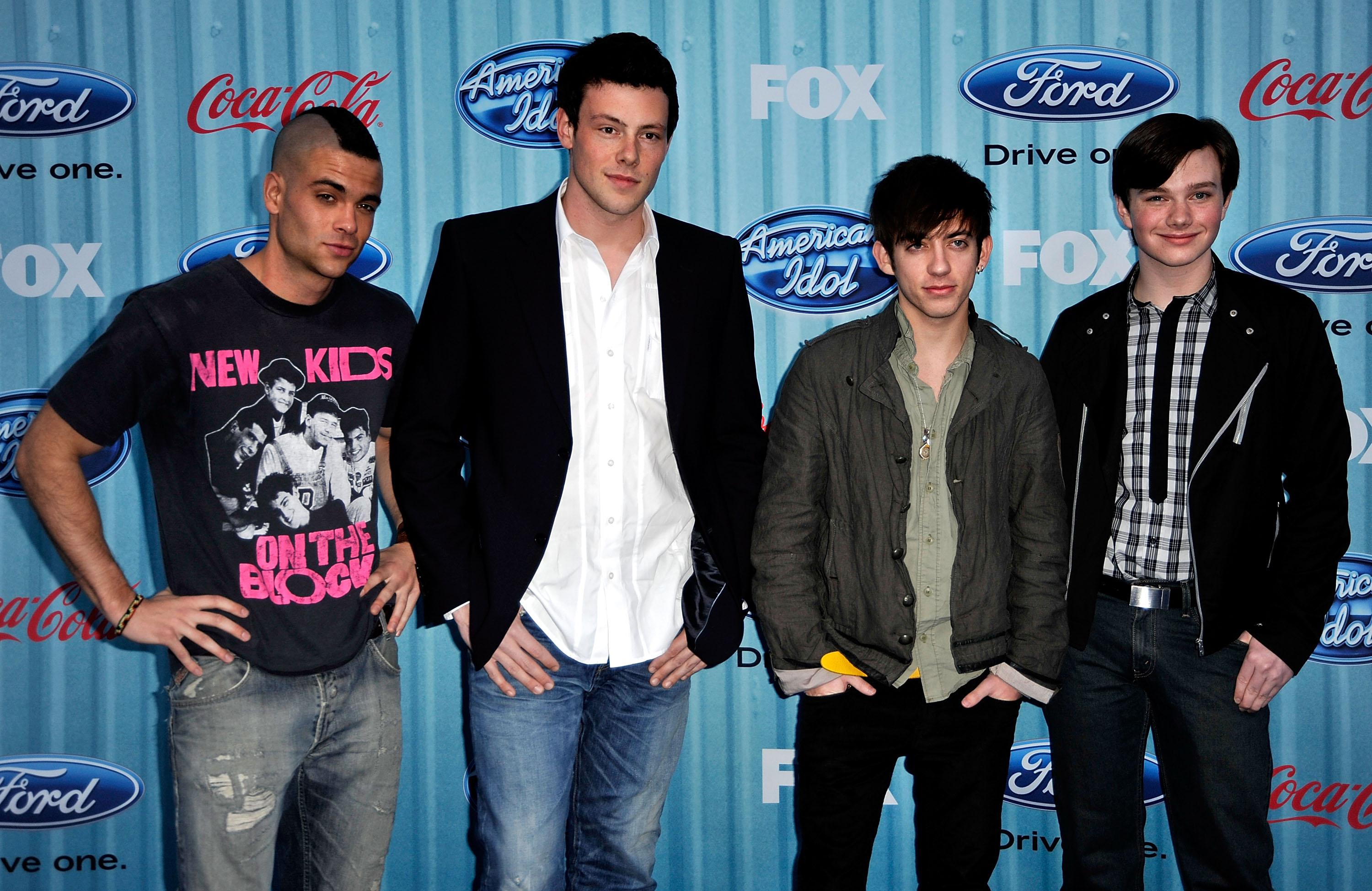 Salling with three other Glee stars - Cory Monteith, second left, died in 2013