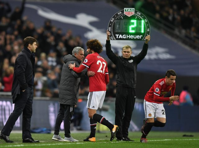 Image result for fellaini subbed off spurs