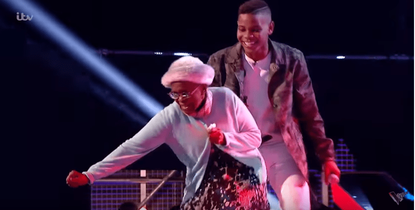 Donel's grandmother Nita ran on stage to celebrate his success