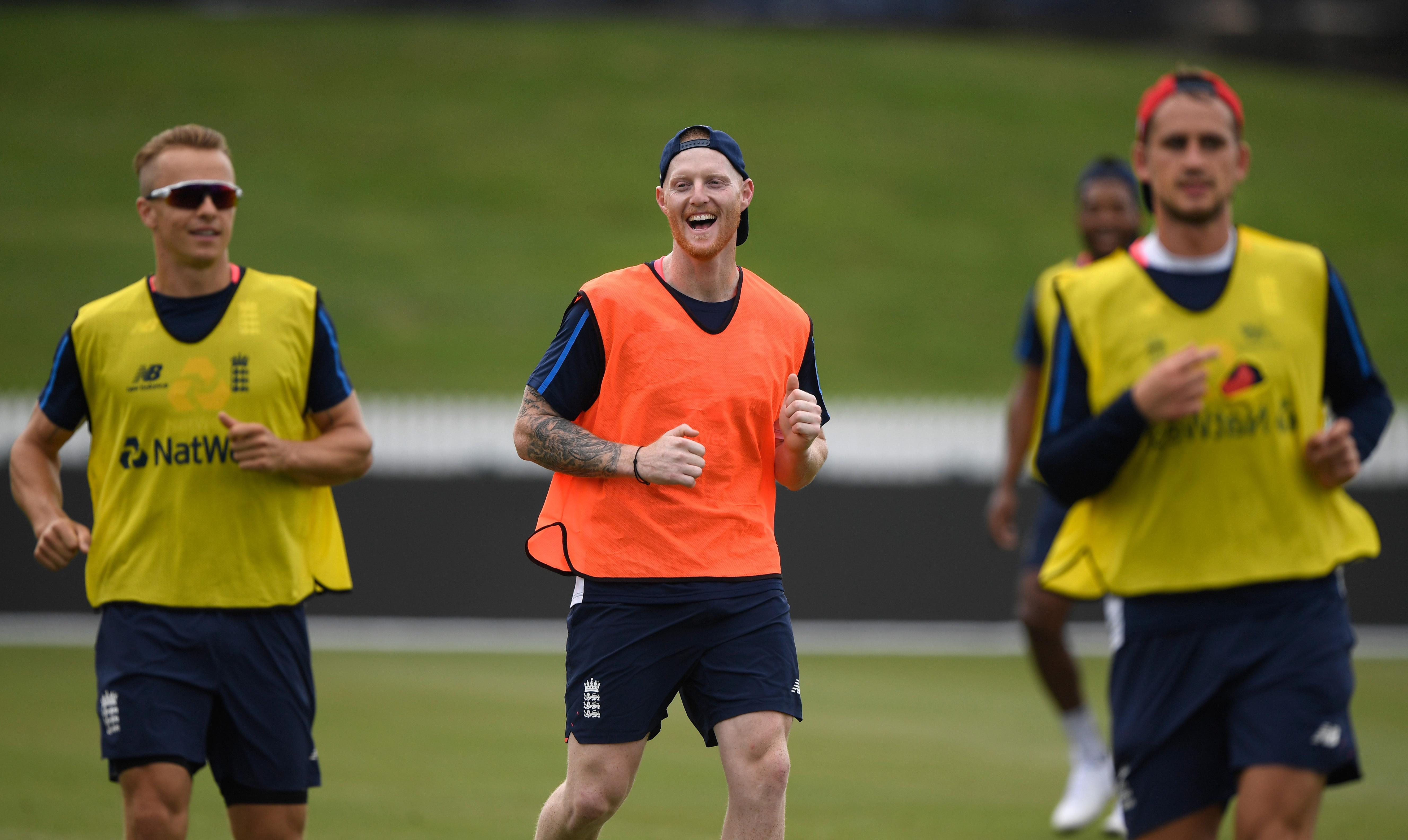 Ben Stokes looked happy as he rejoined his England team-mates