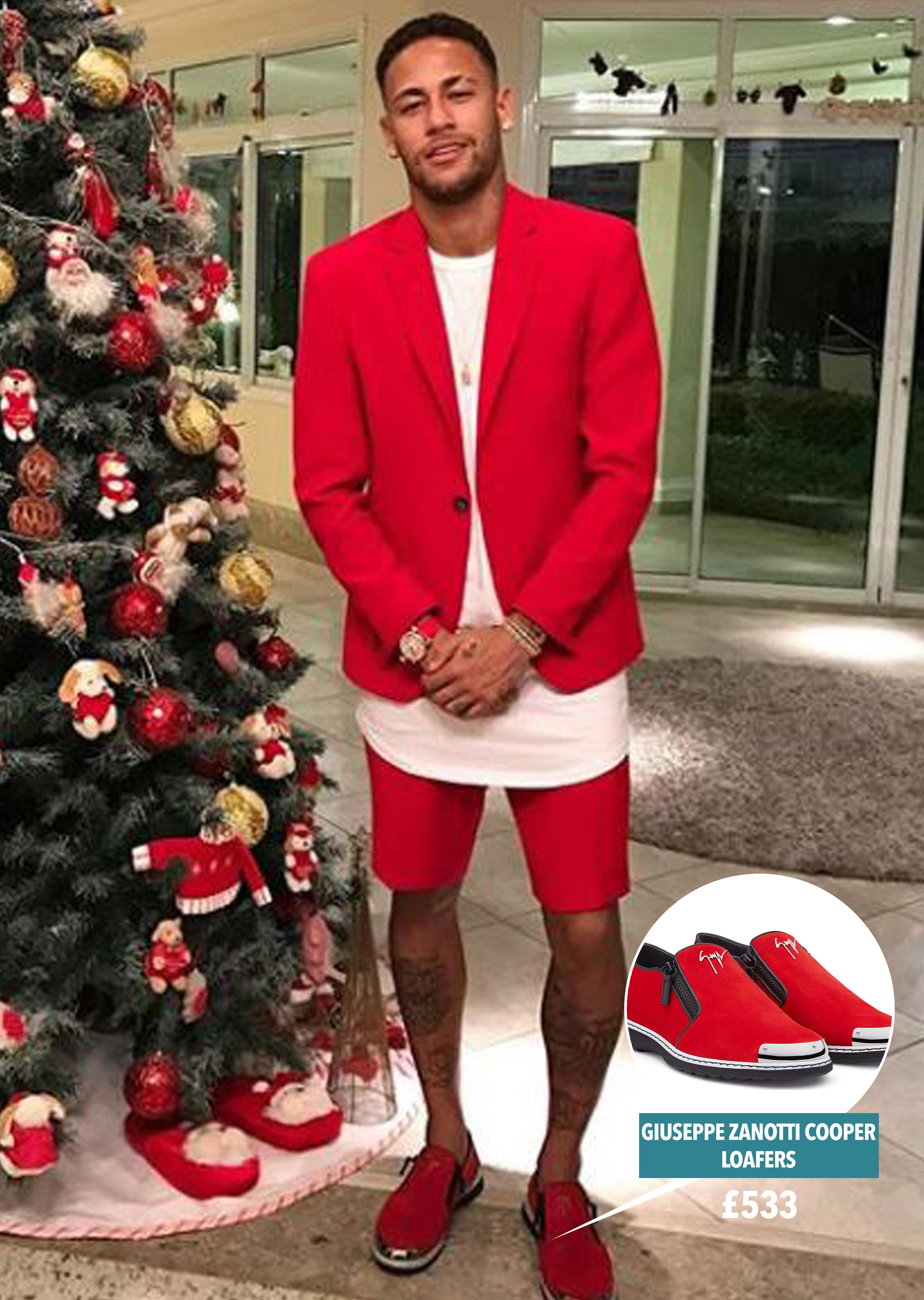 Neymar wore all red when celebrating Christmas in Brazil with his family
