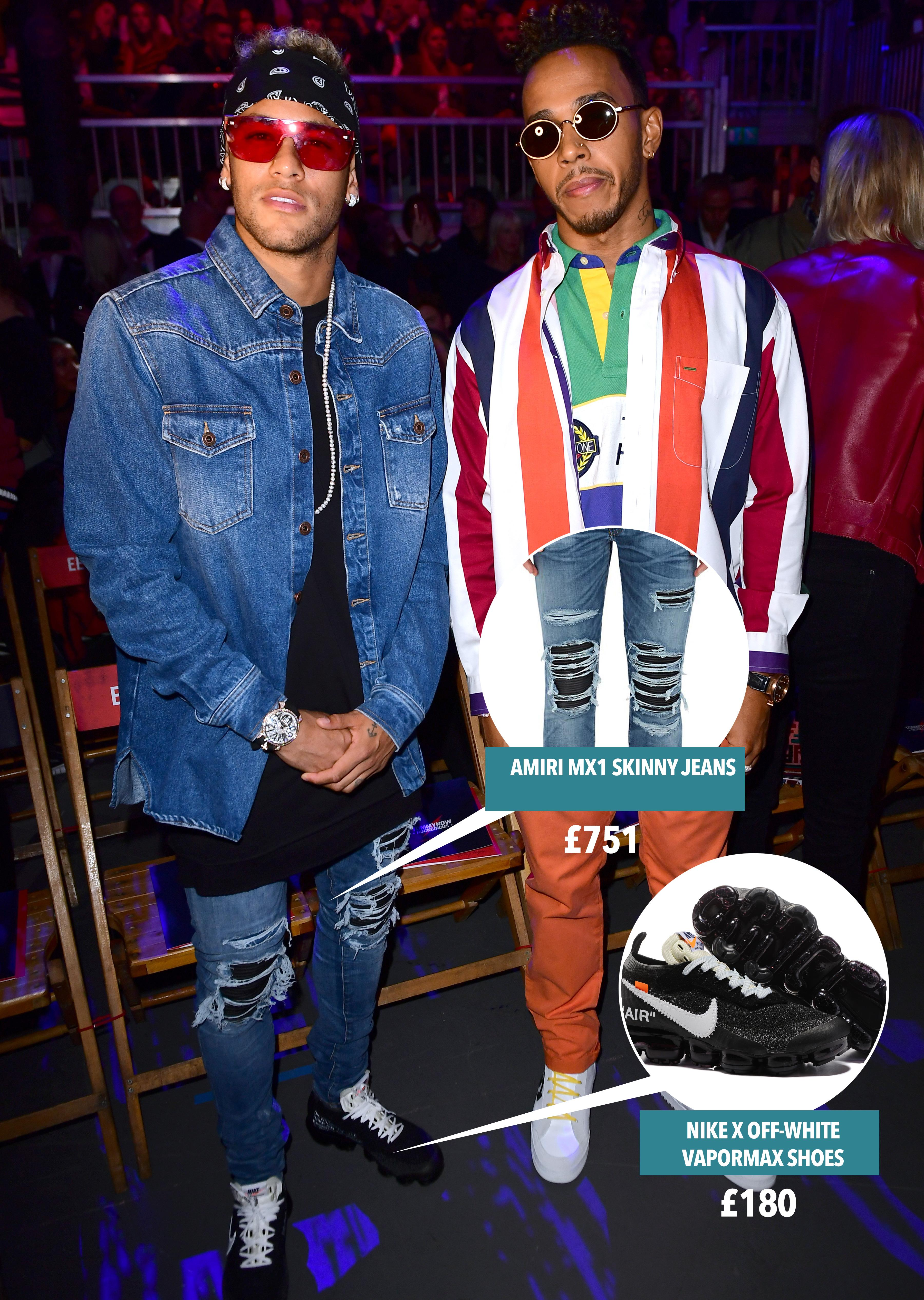Neymar and pal Lewis Hamilton looked flashy at Tommy Hilfiger's fashion week show in New York