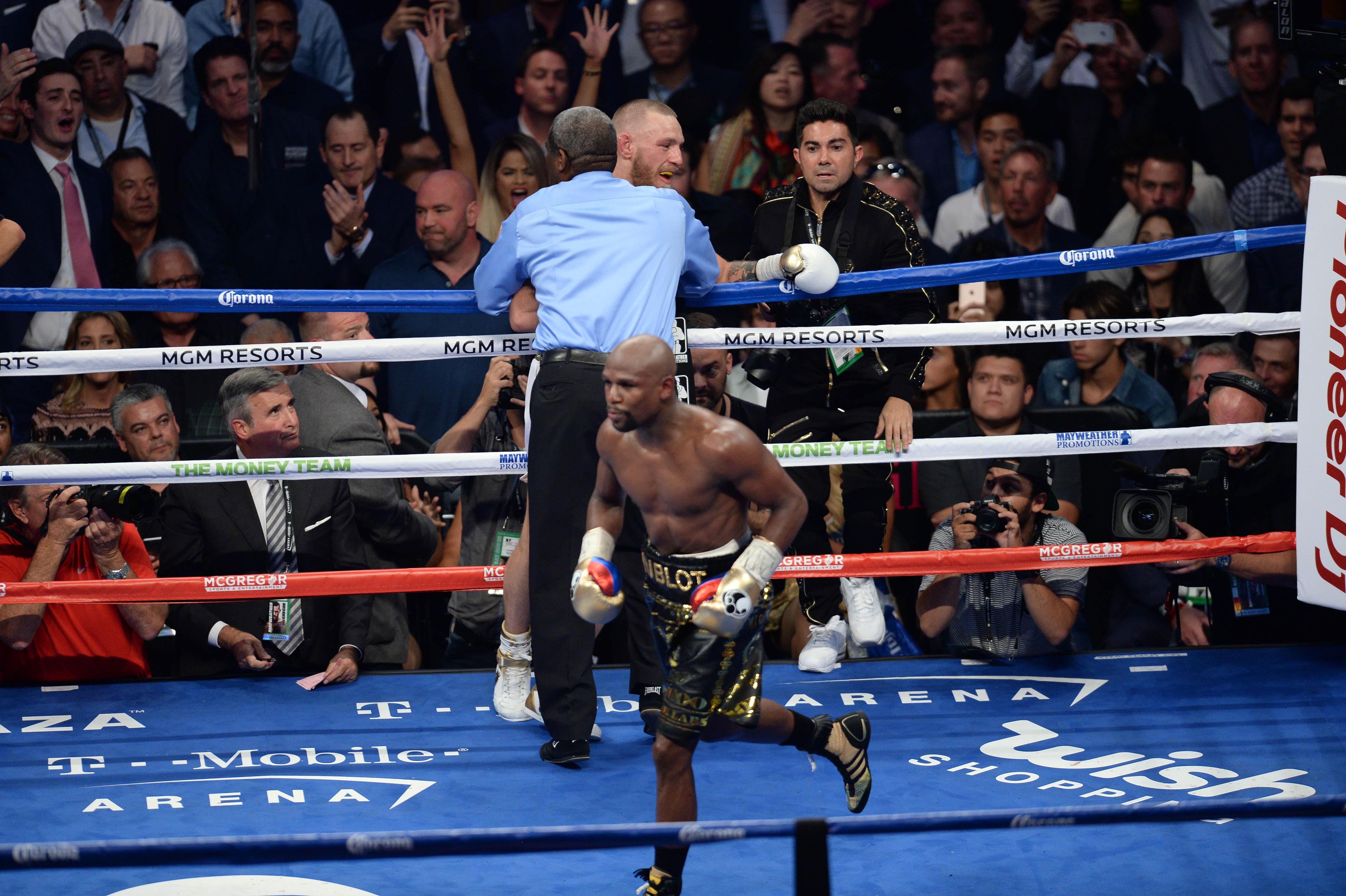 Floyd Mayweather stopped Conor McGregor in the 11th round of their boxing match in Las Vegas last August