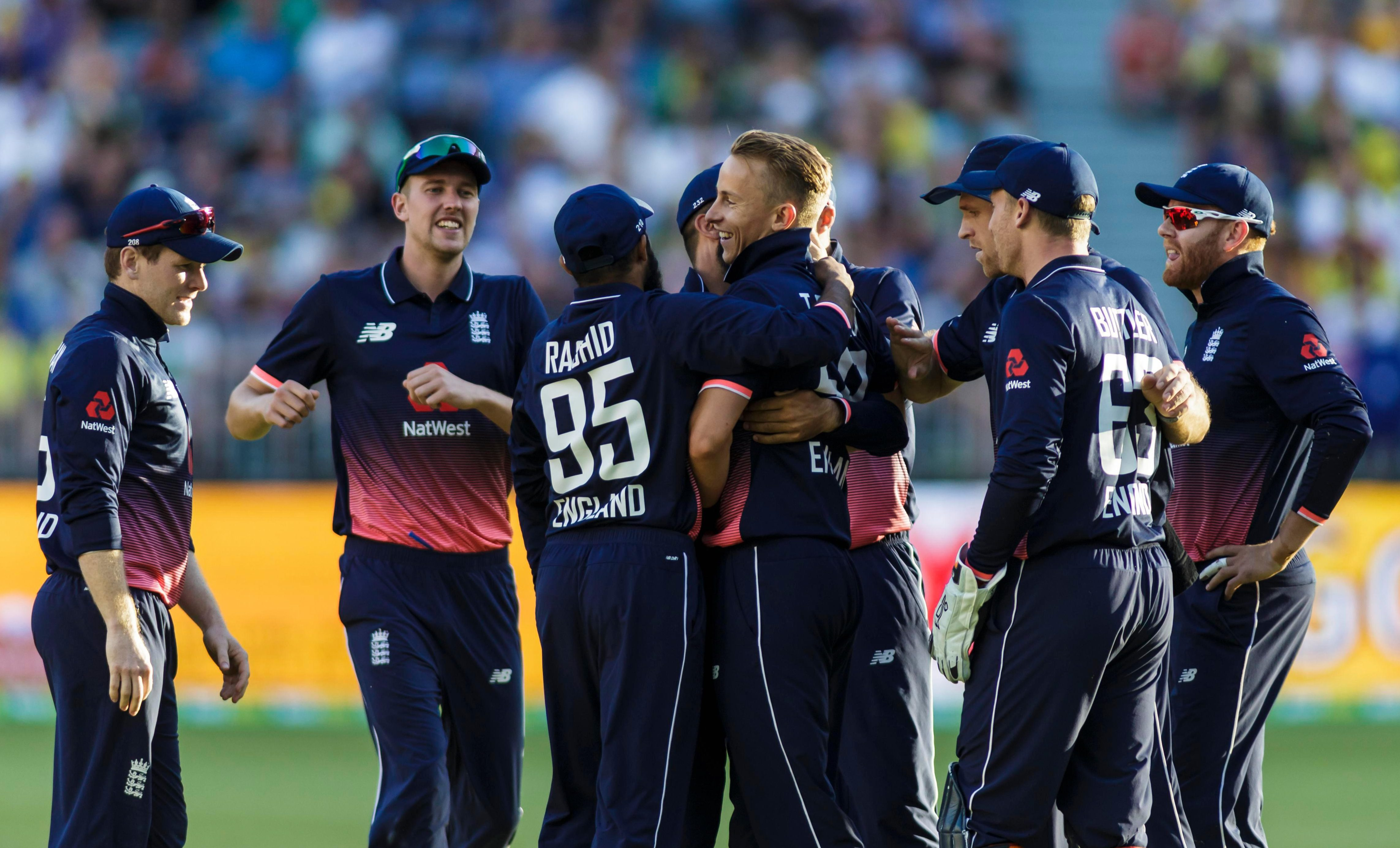 The England squad celebrate after securing the ODI win against Australia