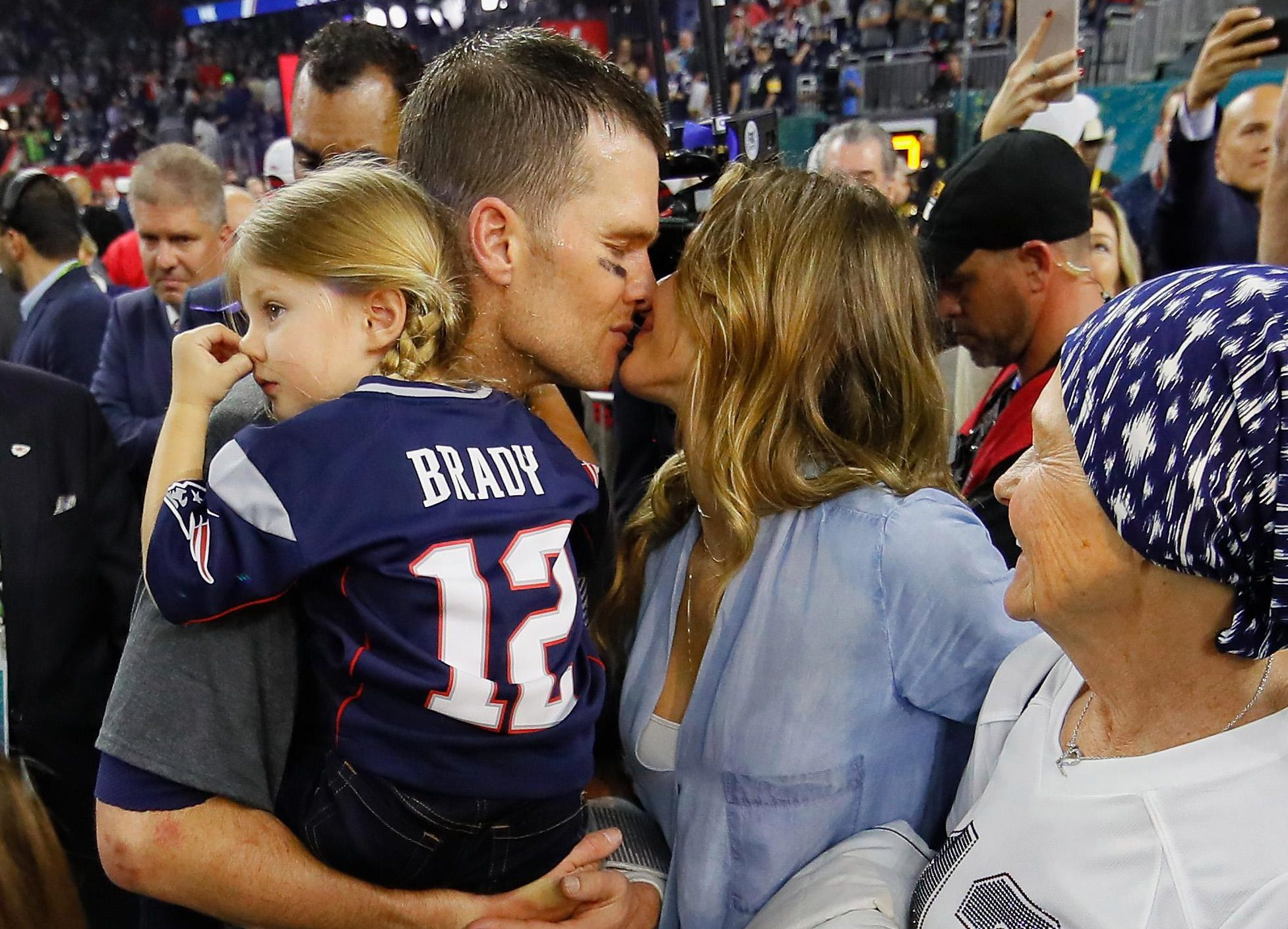 Tom Brady celebrates with wife Gisele Bundchen and daughter Vivian Brady after New England Patriots beat Atlanta Falcons in the 2017 Super Bowl