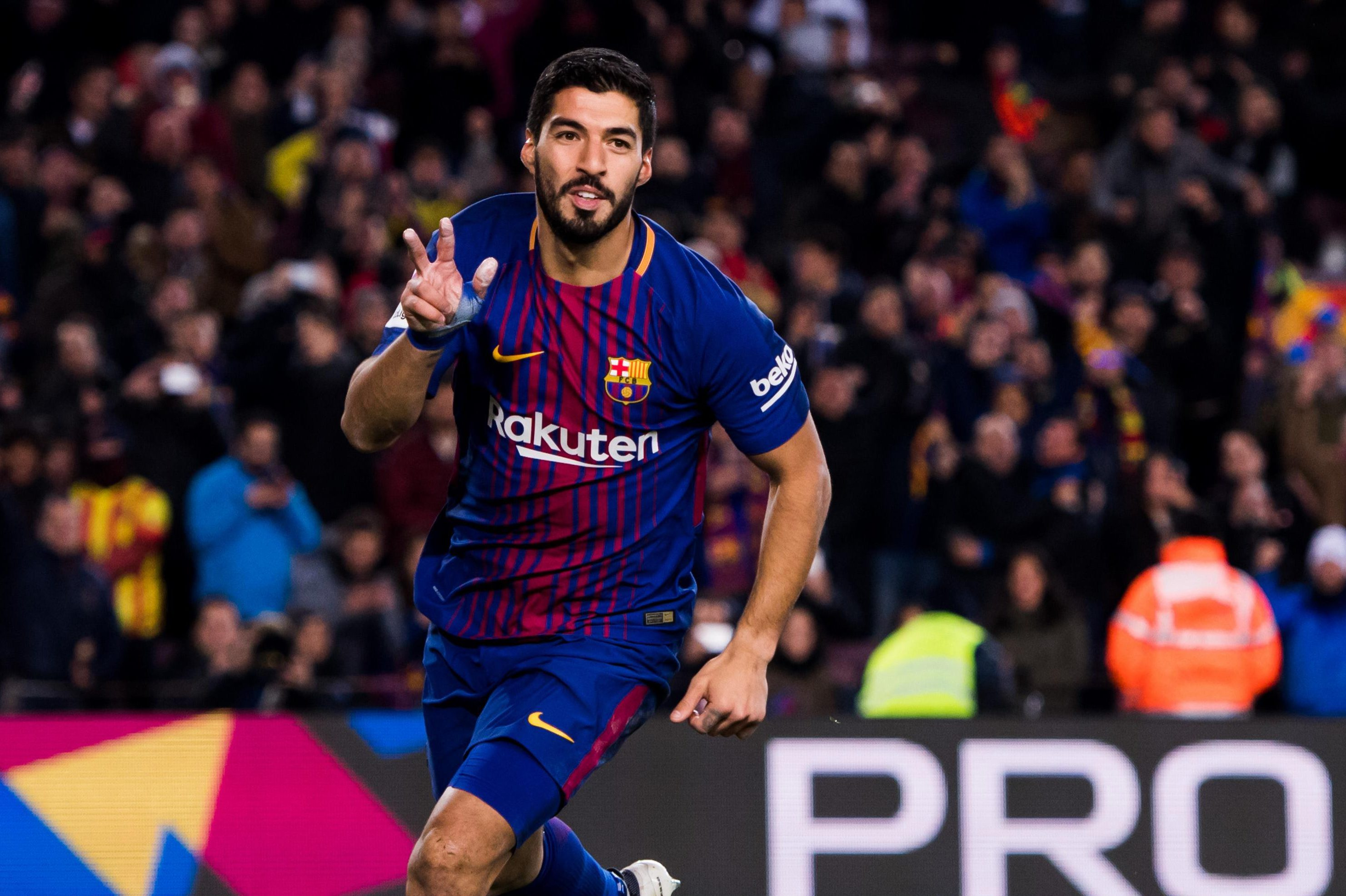 Luis Suarez celebrating after breaking the deadlock in the first leg