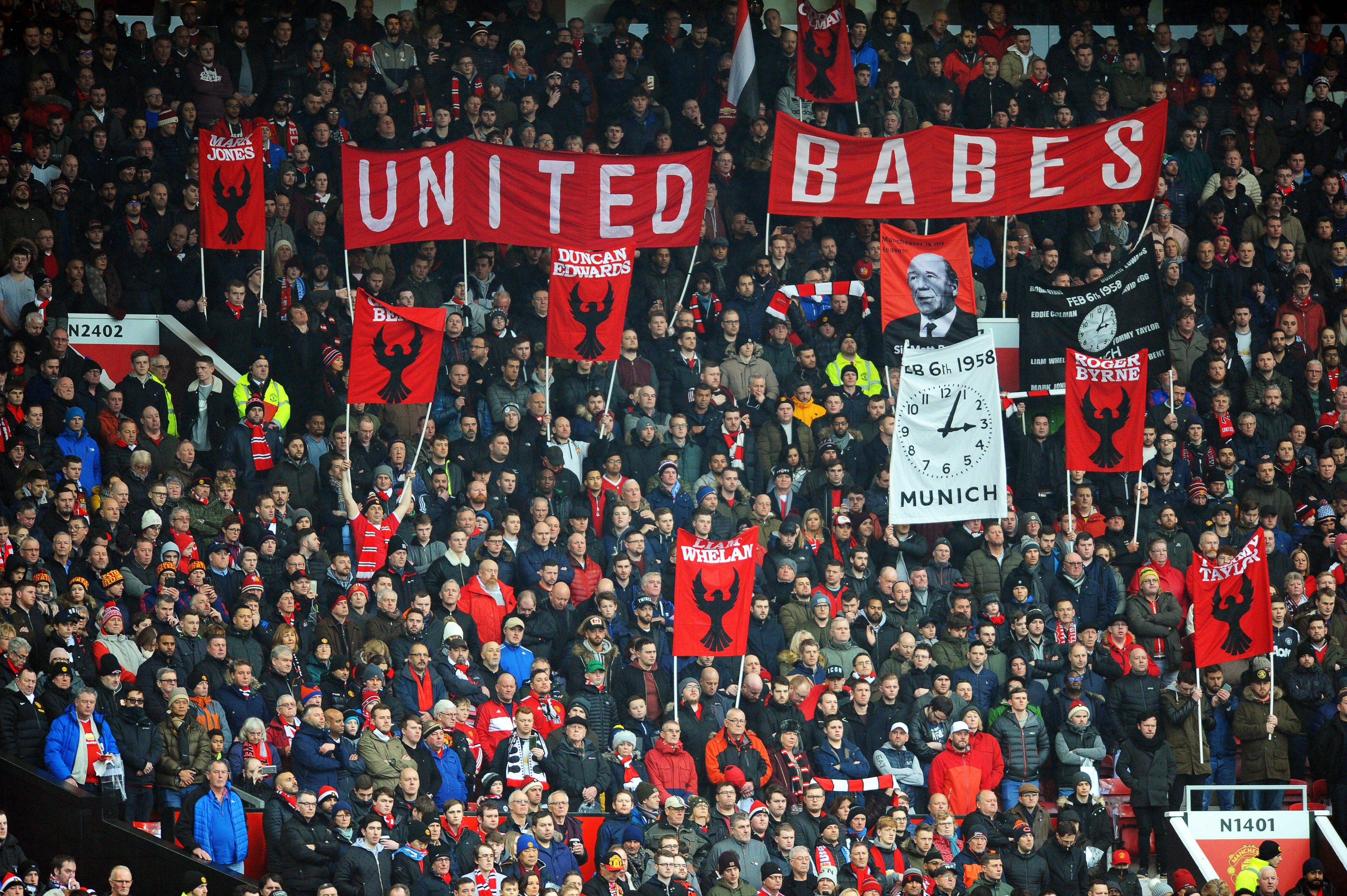 Manchester United fans paid tribute to the Busby Babes at Old Trafford