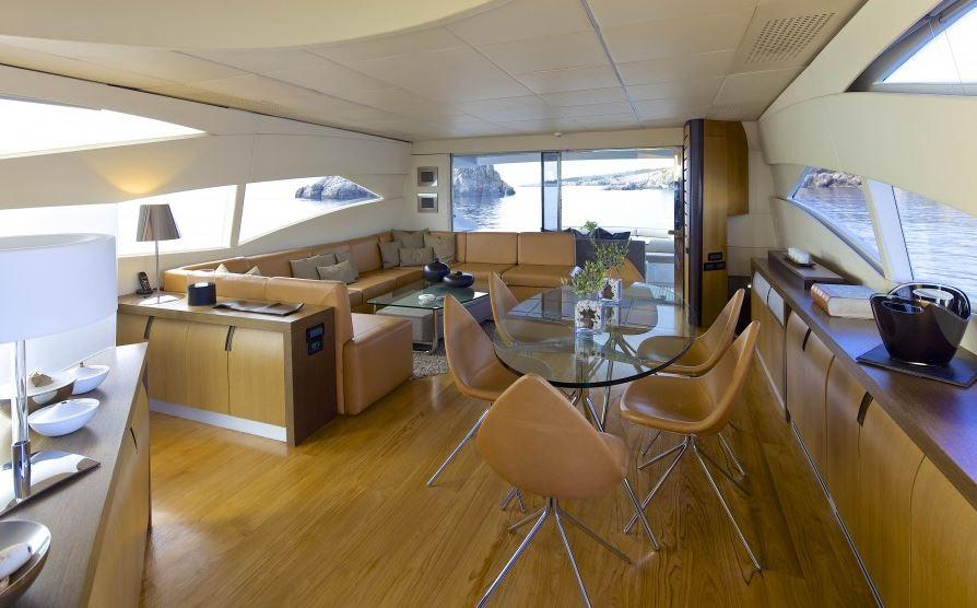 Up to eight guests can stay on board the Pershing 90
