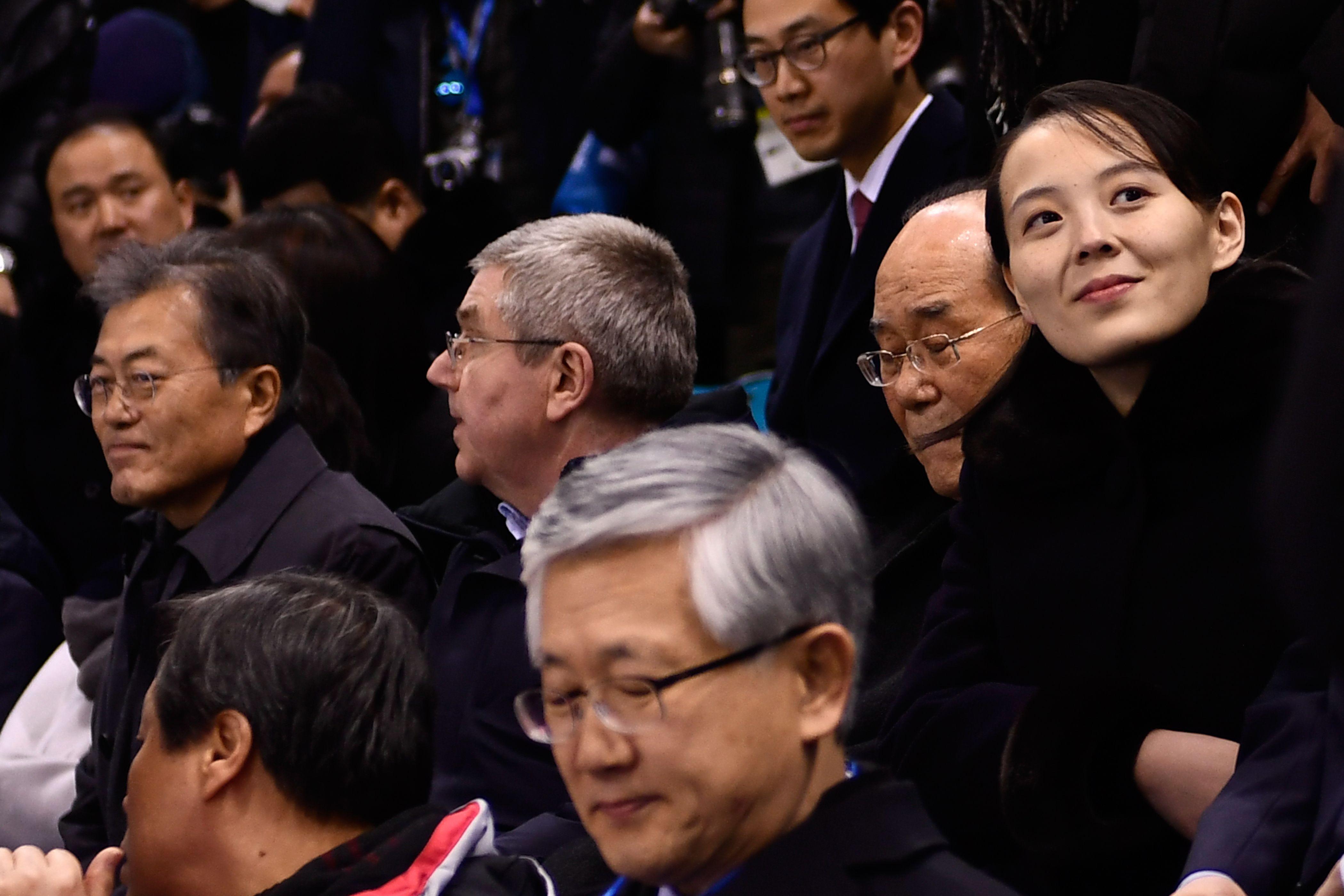Kim Yo-jong - sister of Kim Jong-un - sits next to South Korean President Moon Jae-in