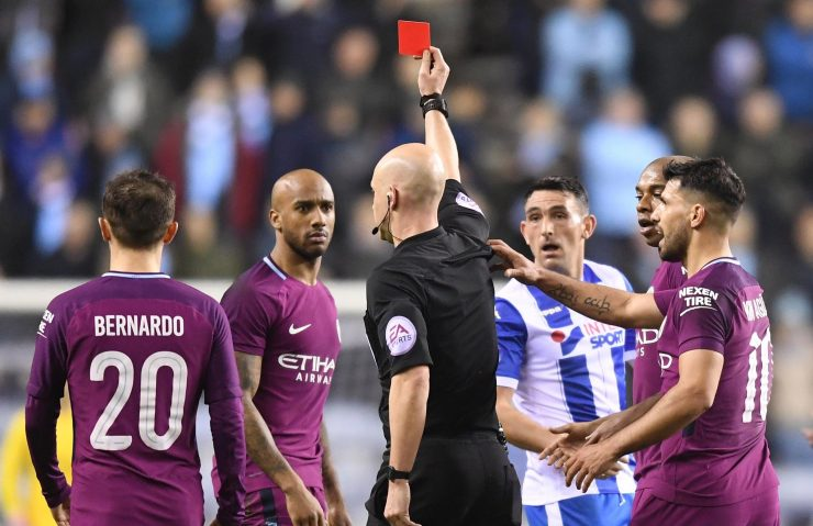 The FA Cup clash exploded into life when Fabian Delph was sent off just before half time