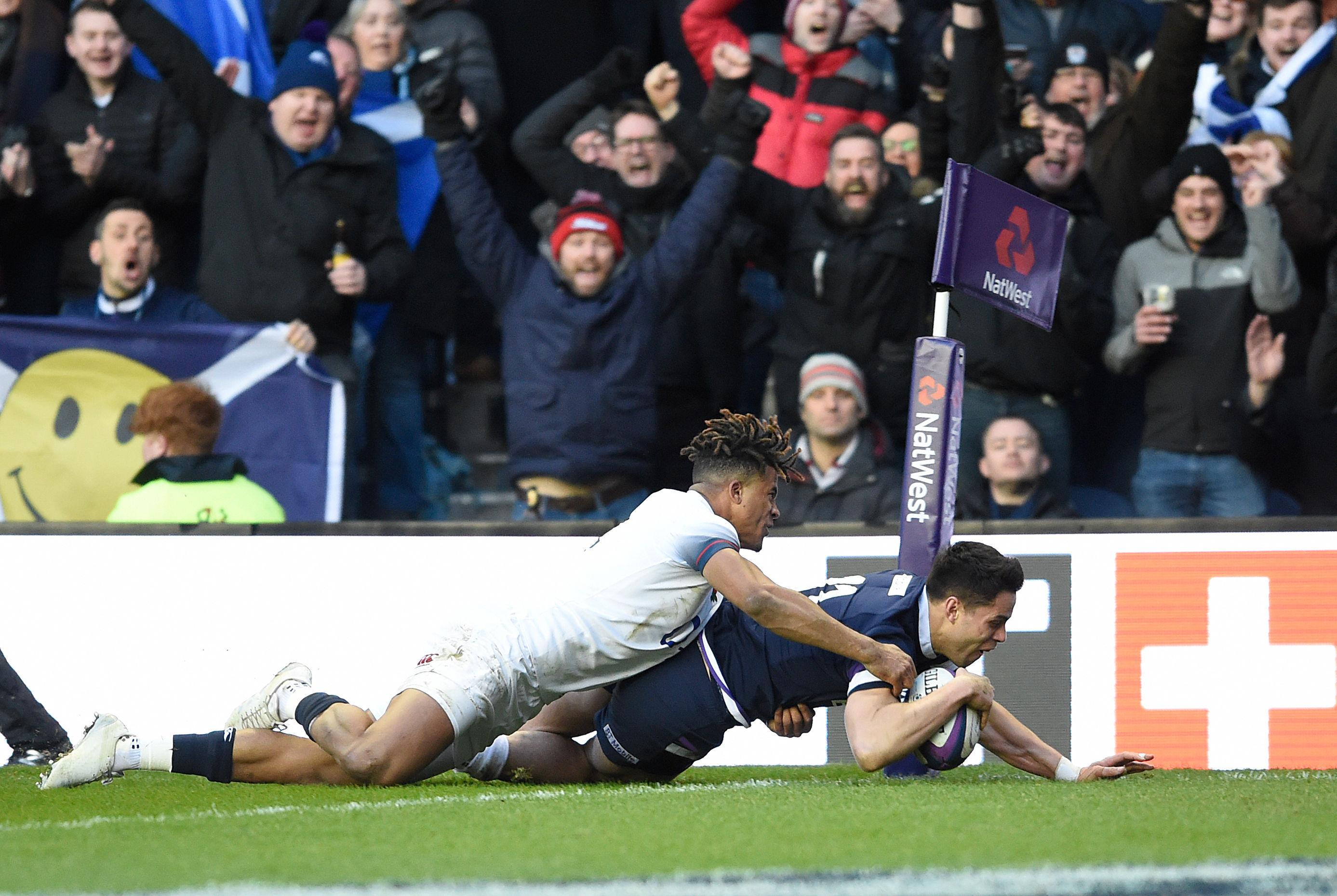 Scotland's Sean Maitland powers through to score his side's second try