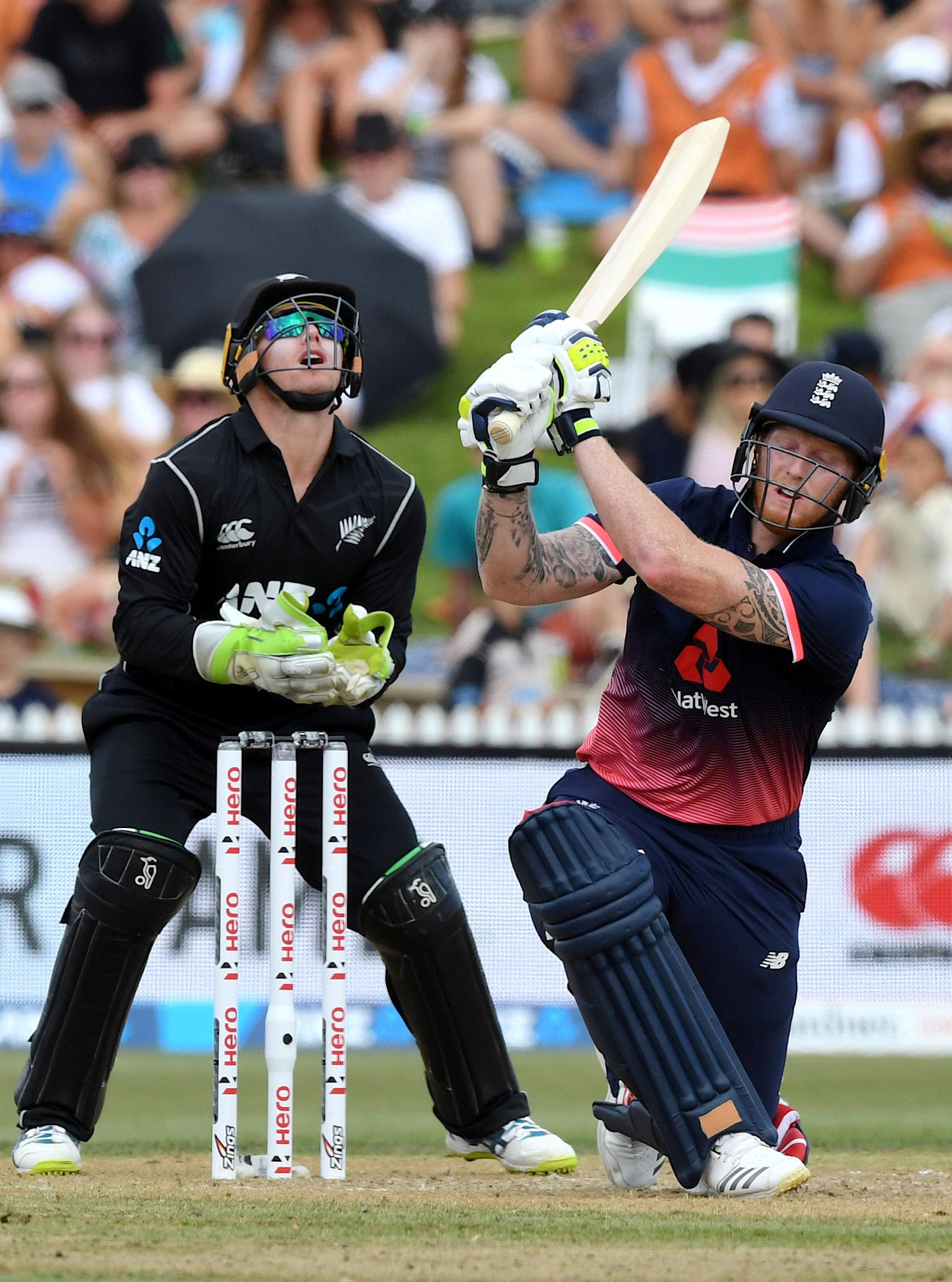 Ben Stokes made just one boundary before being caught by Ross Taylor from Mitchell Santner