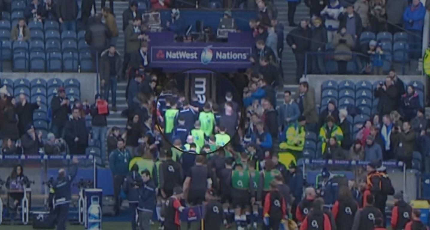 A brawl broke out during half-time of the bad-tempered clash between England and Scotland at Murrayfield