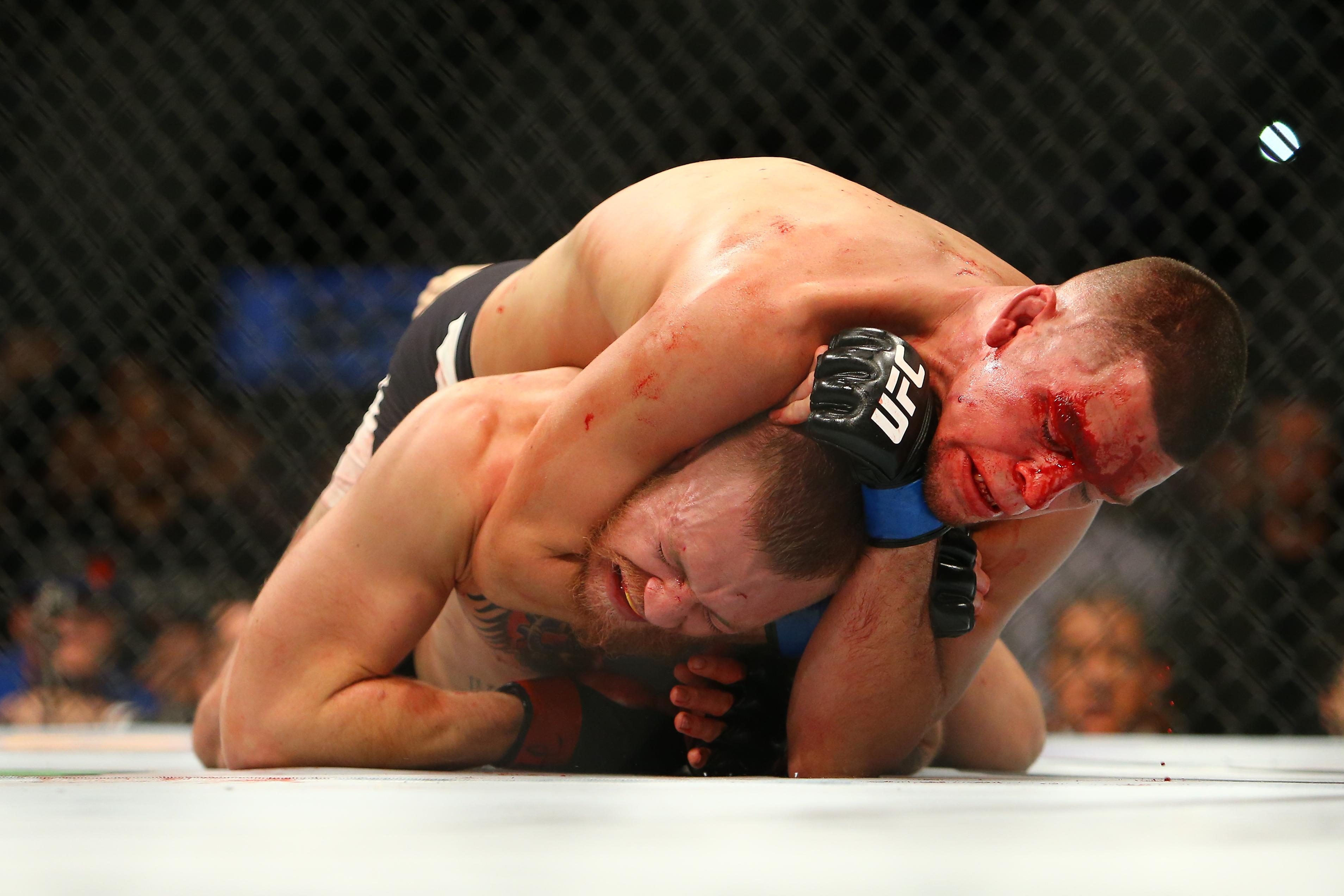 Conor McGregor was submitted by Nick Diaz in their thrilling first fight